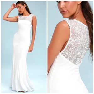 Lulu's Abrianna white embroidered maxi dress gown